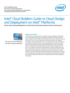 Intel® Cloud Builders Guide  Intel® Xeon® Processor-based Servers  Service-Aware Energy Management in Cloud-Oriented  Telecommunications Services Infrastructure