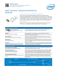 Intel® Centrino® Advanced-N 6205 for Desktop - Product Brief