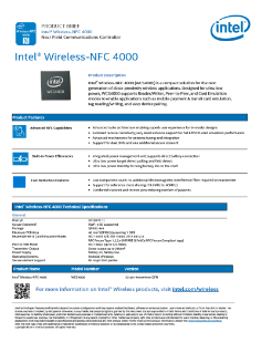 Intel® Wireless NFC 4000 Product Brief